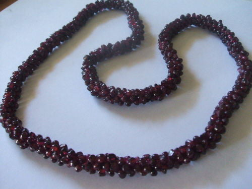 Genuine Natural Red Garnet Interwoven Cluster Bead Necklace - Barbaracute - 4