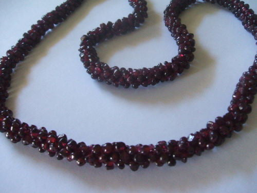 Genuine Natural Red Garnet Interwoven Cluster Bead Necklace - Barbaracute - 5