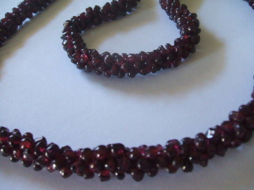 Genuine Natural Red Garnet Interwoven Cluster Bead Necklace - Barbaracute - 6