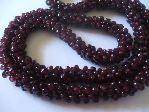 Genuine Natural Red Garnet Interwoven Cluster Bead Necklace - Barbaracute - 7