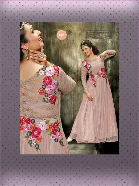 Fully Stitched - Georgette Gown With Embroidery Work and Santoon Inner (Beige) - Barbaracute - 1