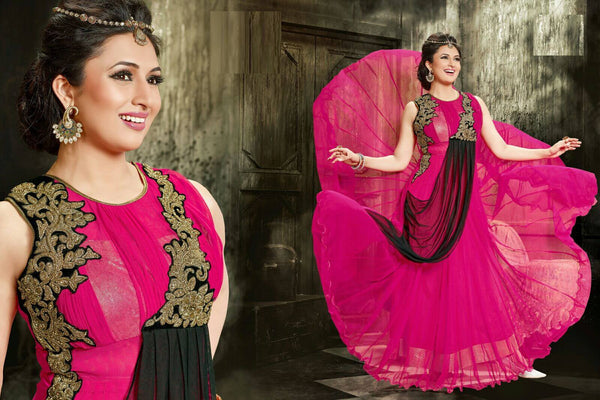 Fully Stitched - Georgette Gown With Embroidery Work and Santoon Inner (Pink) - Barbaracute - 2