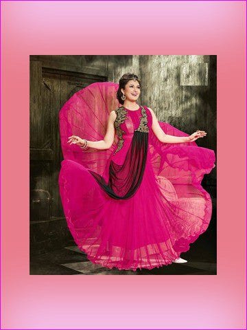 Fully Stitched - Georgette Gown With Embroidery Work and Santoon Inner (Pink) - Barbaracute - 1