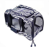 Soft Sided Zebra Print Collapsible Cat Travel Tote
