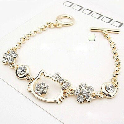 Hi Kitty Gold Plated Rhinestone Fashion Bracelet