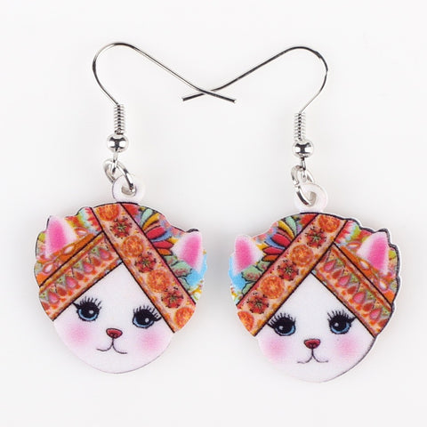 Cat Head Multi-Color Fashion Earrings
