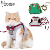 Cat Harnesses Cat Traction Kit Elegant British Style Jacket+Leash Set Gray&Green Cute Bow Quality Fabrics Good Ventilation