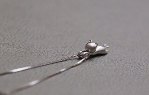 Playful Sterling Silver Kitten Necklace