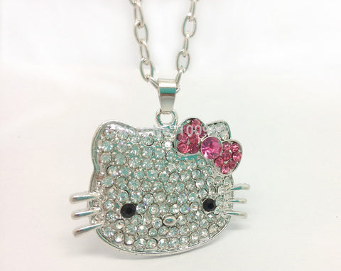 Hi Kitty Rhinestone Pendant Necklace