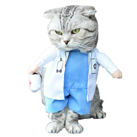 Funny Cat Outfits Pet Costumes Cats Suit Winter Puppy Dog Clothes Doctor Fashion Best Selling