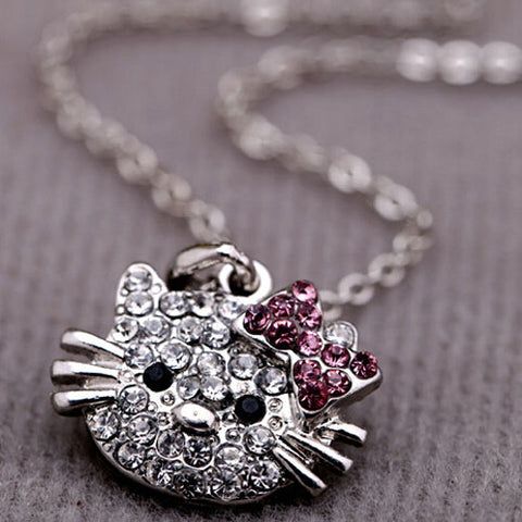 Cat Rhinestone Fashion Pendant Necklace
