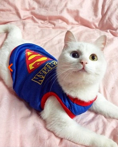 Breathable Superman Cat T-Shirt Costume