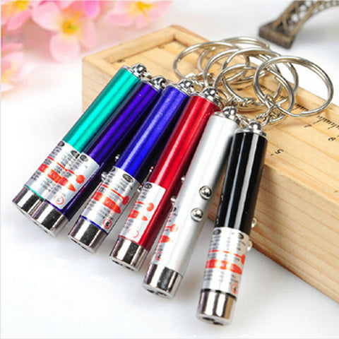 Cat Keychain Dual Color Laser Pointer Toy