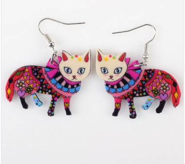 Cat Multi-Colored Drop Fashion Earrings