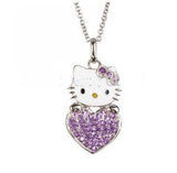 Playful Hi Kitty Rhinestone Heart Pendant Necklace
