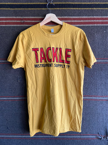 Tackle Instrument T-shirt- Antique Gold shirt/ Red Logo