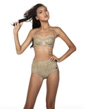 JALL! Exotic Halter Neck High Waisted Bikini Set