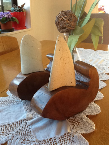 Whale Rider Book ends - kauri and hinuera stone