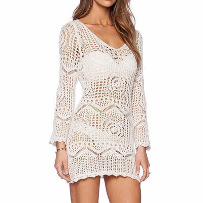 Cover Ups Sexy White Crochet Lace Swimsuit Cover Up Dress