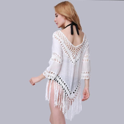 Cover Ups Tassel Chiffon Beach Mini Dress