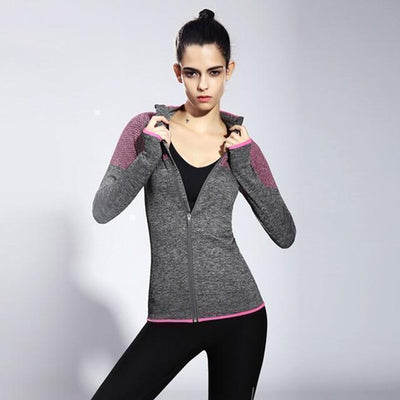 Jackets + Hoodies Seamless Stand Collar Workout Jacket