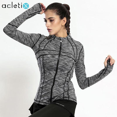 Jackets + Hoodies Stretched Stripe Workout Zipper Jacket
