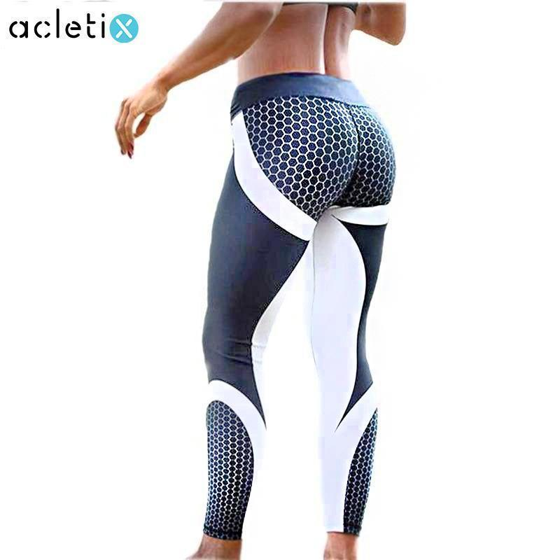 e53eaf6db800e7 Super trendy women leggings and Yoga pants for your fitness workouts.  Leggings Honeycomb Patchwork Push-up Leggings