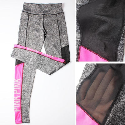 Leggings Pink Splash & Mesh Bodybuilding Fitness Leggings