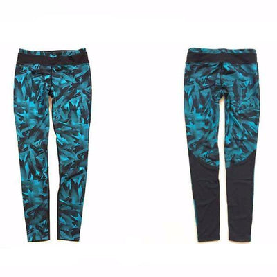 Leggings Sexy Mesh Blue Feather Print Fitness Leggings