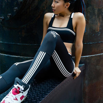 Leggings Slim Fitness Leggings With White Stripes
