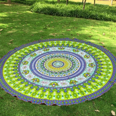 Mandala Beach Blankets Colorful Round Printed Mandala Boho Indian Beach Blanket