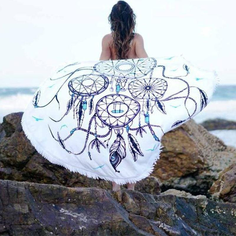 Mandala Beach Blankets Dreamcatcher Printed Round Beach Blankets With Tassel
