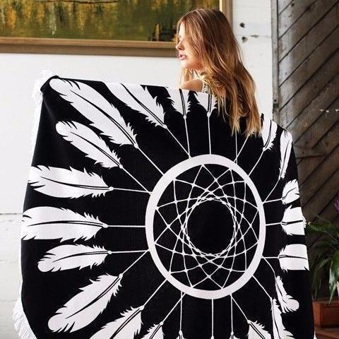 Mandala Beach Blankets Feather Dreamcatcher Black & White Bohemian Round Beach Blanket