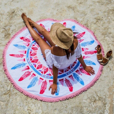 Mandala Beach Blankets Feather Mandala Beach Blanket Yoga Tapestry