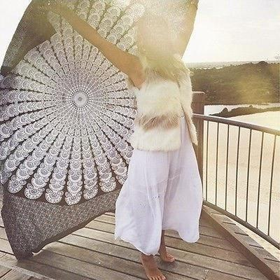 Mandala Beach Blankets Gigantic White Mandala Tapestry Wall Hanging Beach Blanket