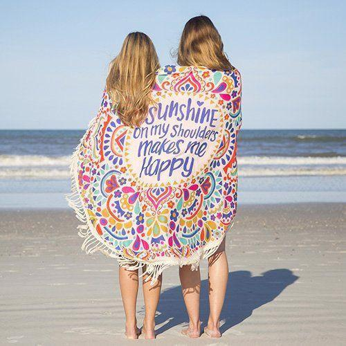 Mandala Beach Blankets Happy Quote Round Hippie Tapestry Beach Throw