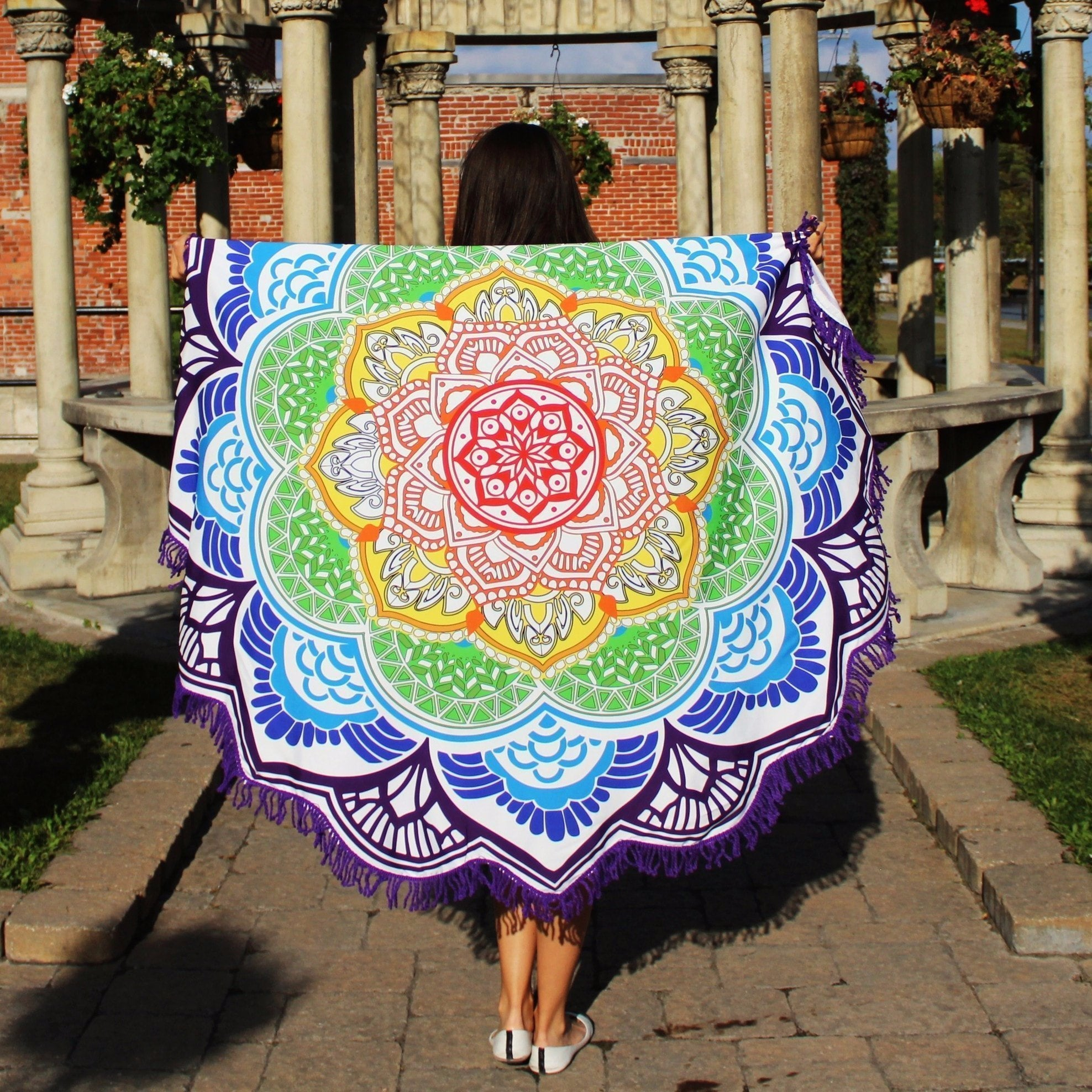 Mandala Beach Blankets Indian Mandala Lotus Yoga Mat With Tassels