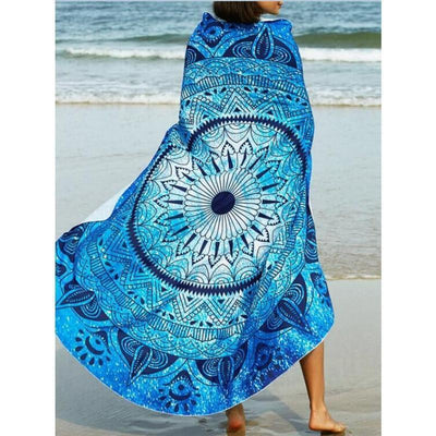 Mandala Beach Blankets White/Blue Fashion Bohemian Round Indian Mandal Beach Blanket