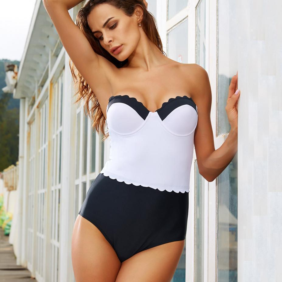 f59d886802 Helena - Black and White Classy Swimsuit - Bodeaz