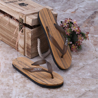 Shoes Summer Beach Casual Wooden Style Flip Flops Slippers