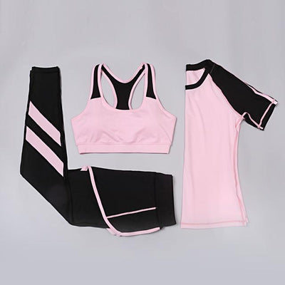 Shorts 3pcs Yoga Fitness women sport suit Girl's Running tracksuit gym shorts sport bra top