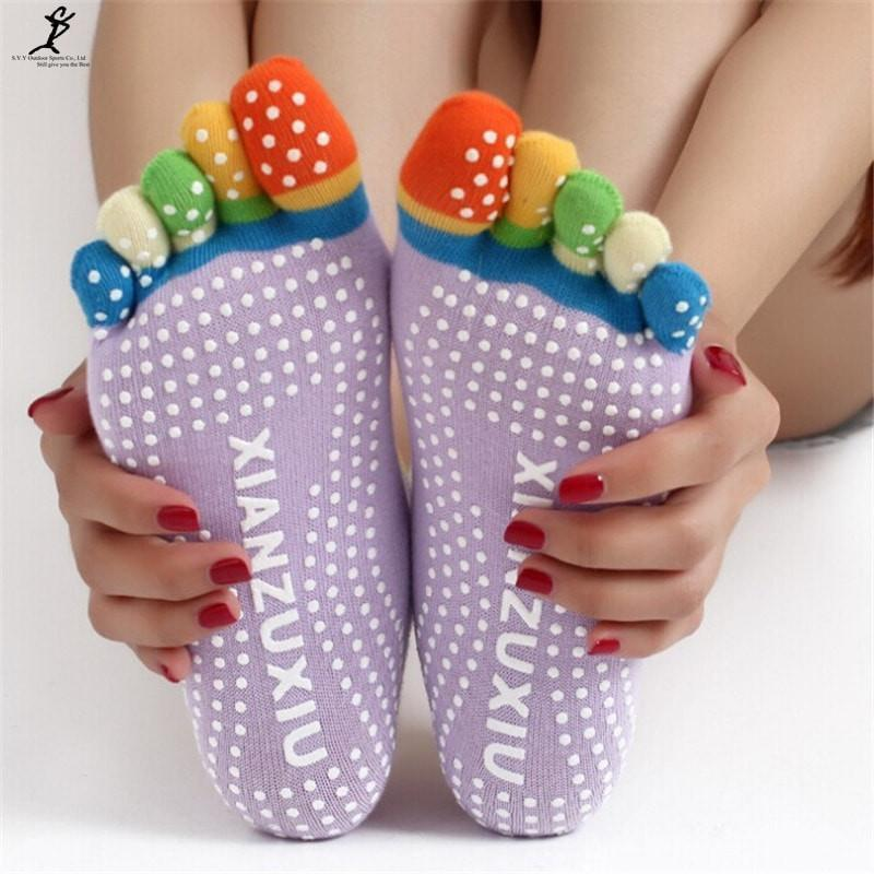Multicolor Cotton 5 fingers Socks