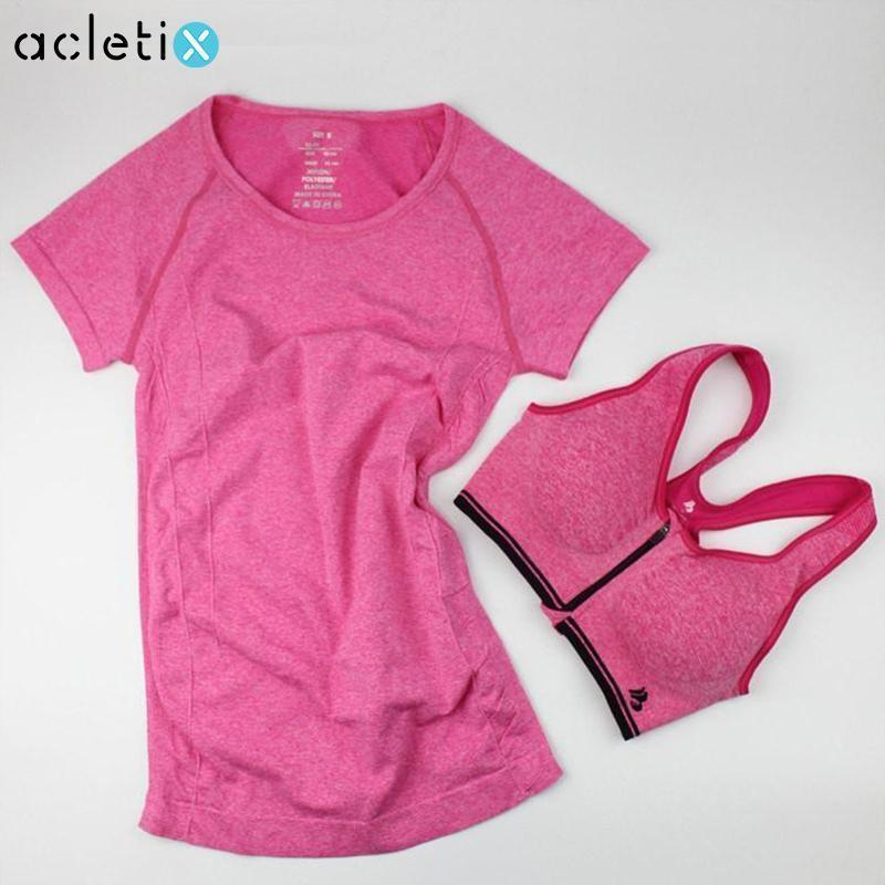 Tees + Tanks BUNDLE: Casual Women Shirt + Fast Drying Zipper Sport Bra