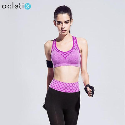Women Sports Clothing Chess Board Pattern Sport Bra +Tight Slim Quick-Drying Fitness Legging