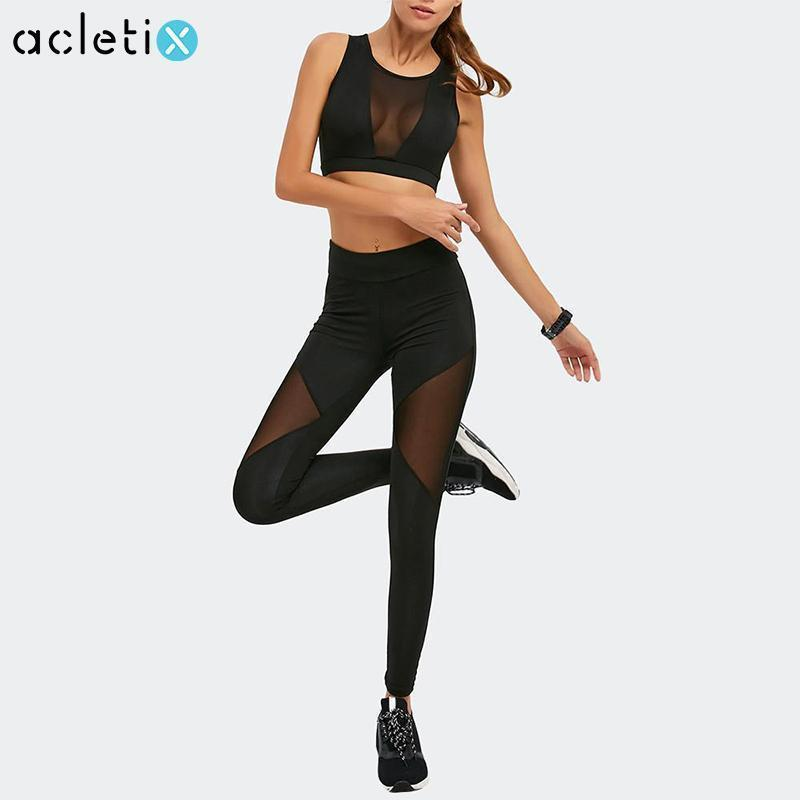 de64227f7f4 Women Sports Clothing Sexy Elegant Black Mesh Set For Fitness   Yoga