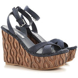 New IN Box  - 5XZ255 Miu Miu by Prada Camoscio Teak Leather Platform Wedge Heel 38.5