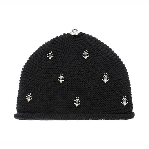Beanie Hat with Silver Fleur De Lis Charms