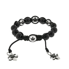 Weed leaf buddha bead bracelet with silver and onyx beads