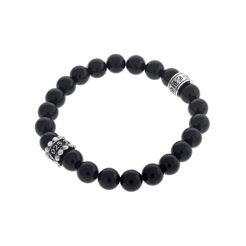 Buddha Bead Bracelet Fuck Off with Silver and Onyx Beads