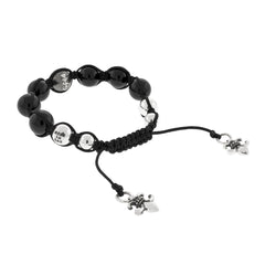 Buddha Bead Bracelet with Silver and Black Onyx
